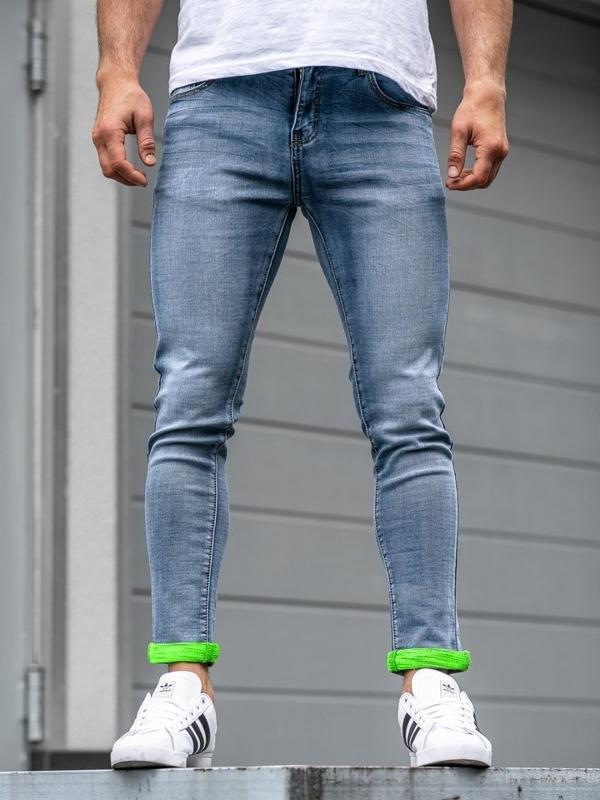 Spodnie jeansowe męskie granatowe Denley KX162