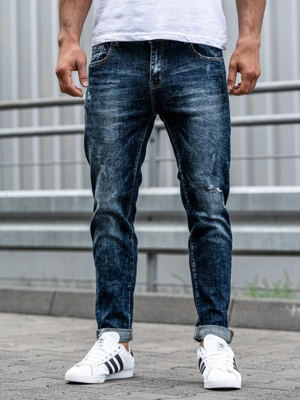 Spodnie jeansowe męskie granatowe Denley KX269