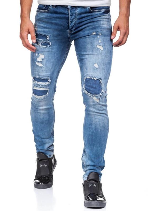 Spodnie jeansowe męskie niebieskie Denley 377