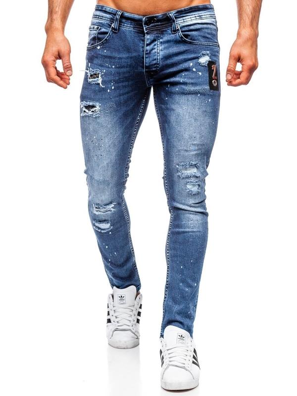 Spodnie jeansowe męskie regular fit granatowe Denley 4003