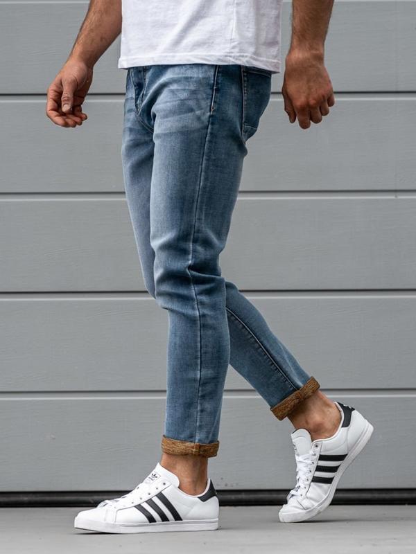 Spodnie jeansowe męskie relaxed fit granatowe Denley KX163