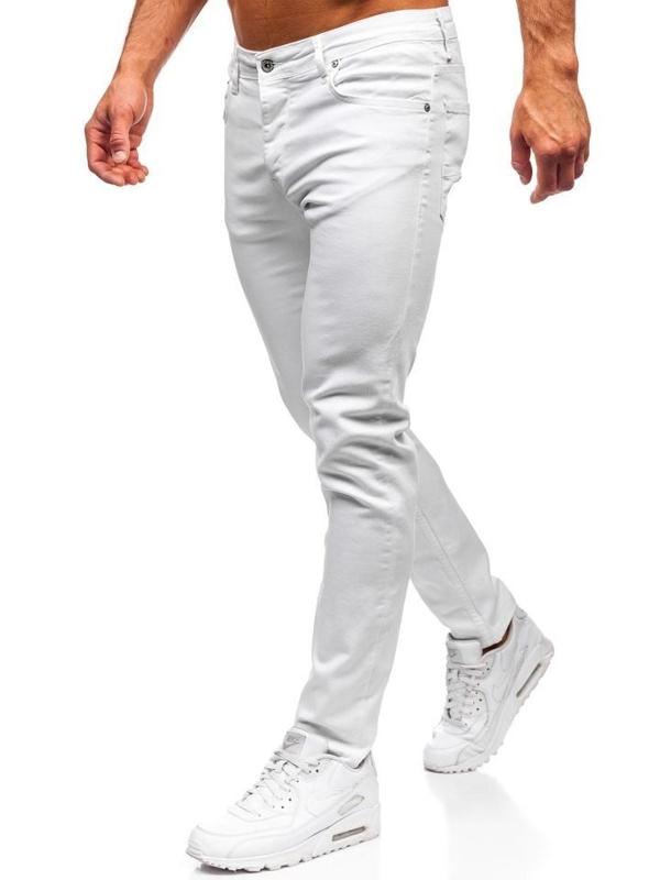 Spodnie jeansowe męskie skinny fit białe Denley 55021