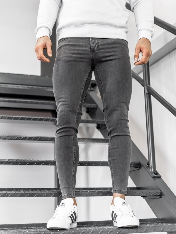 Spodnie jeansowe męskie skinny fit czarne Denley 1088