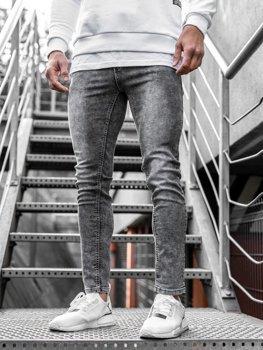 Spodnie jeansowe męskie skinny fit czarne Denley KX189