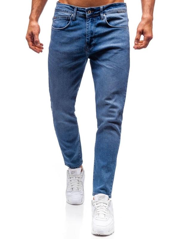 Spodnie jeansowe męskie slim fit niebieskie Denley 7157