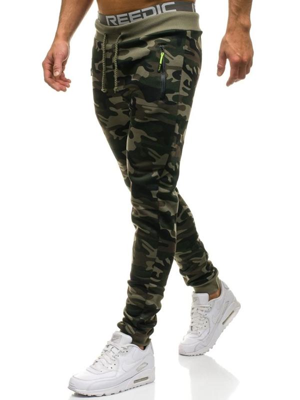 Spodnie męskie dresowe joggery moro-zielone Denley JX8121