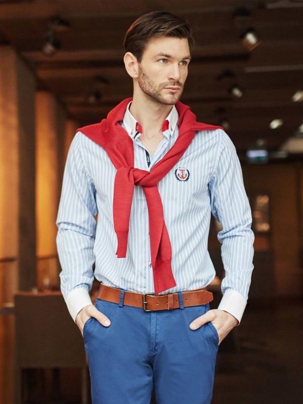 Stylizacja nr 396 - sweter w serek, koszula w paski, spodnie chinosy