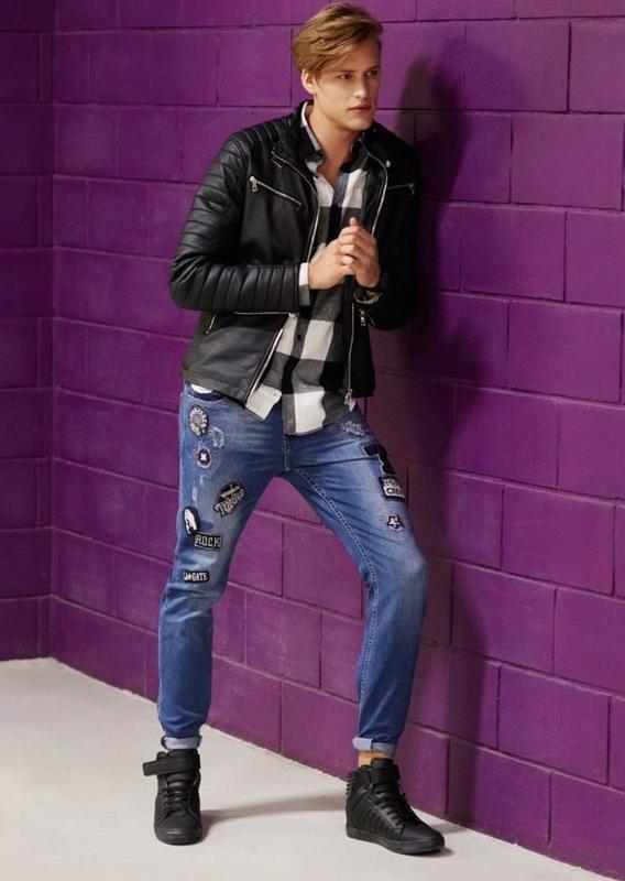 Stylizacja nr 70 - kurtka skórzana, koszula w kratę, spodnie jeansowe