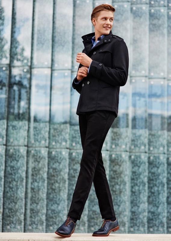 Stylizacja nr 75 - płaszcz zimowy, elegancka koszula, spodnie chinosy
