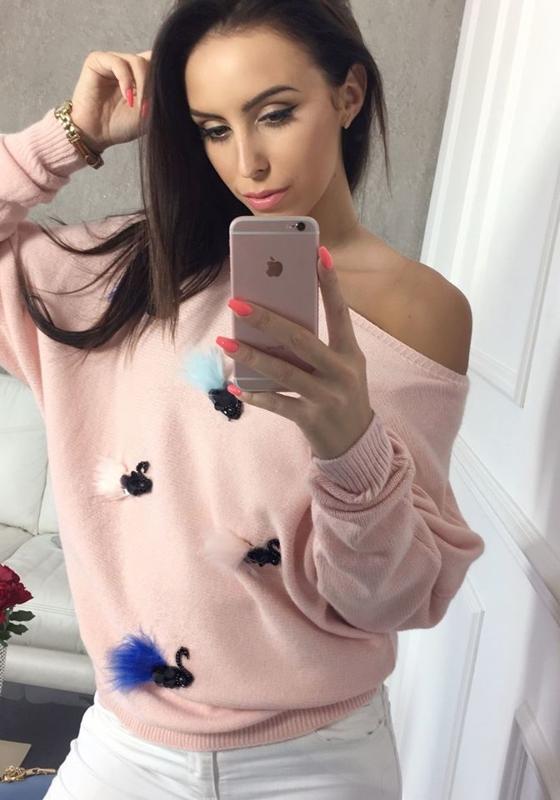 Sweter damski różowy Denley 644
