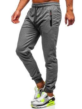 Szare spodnie męskie dresowe Denley CE008