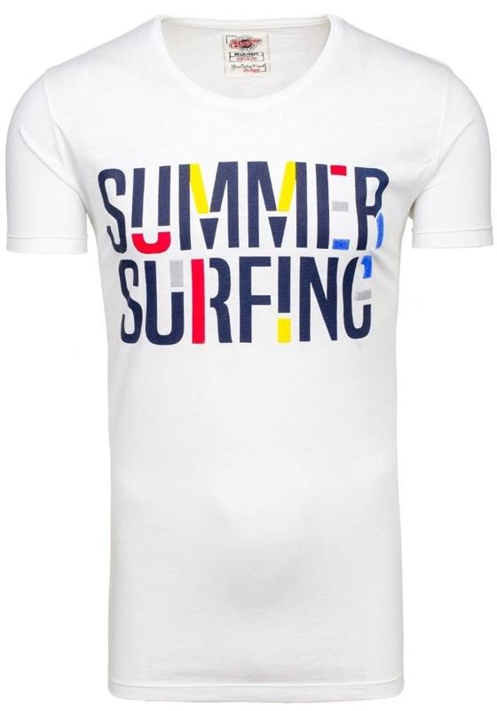T-shirt męski z nadrukiem biały Denley 9056