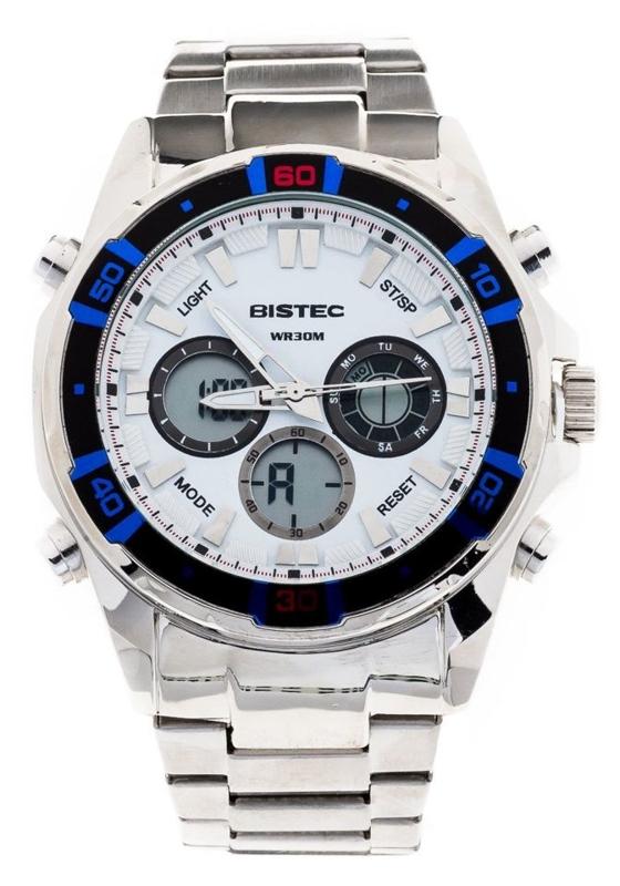 Zegarek męski na rękę stalowy biało-niebieski Denley 202