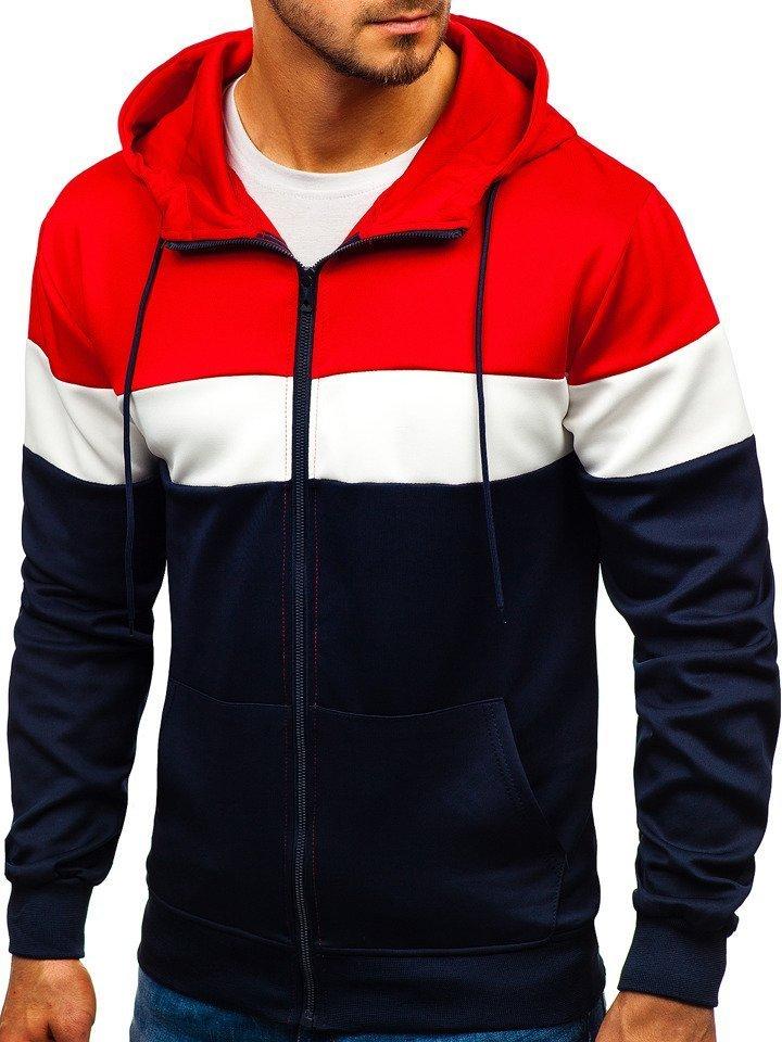 bluza męska granatowo czerwono biala