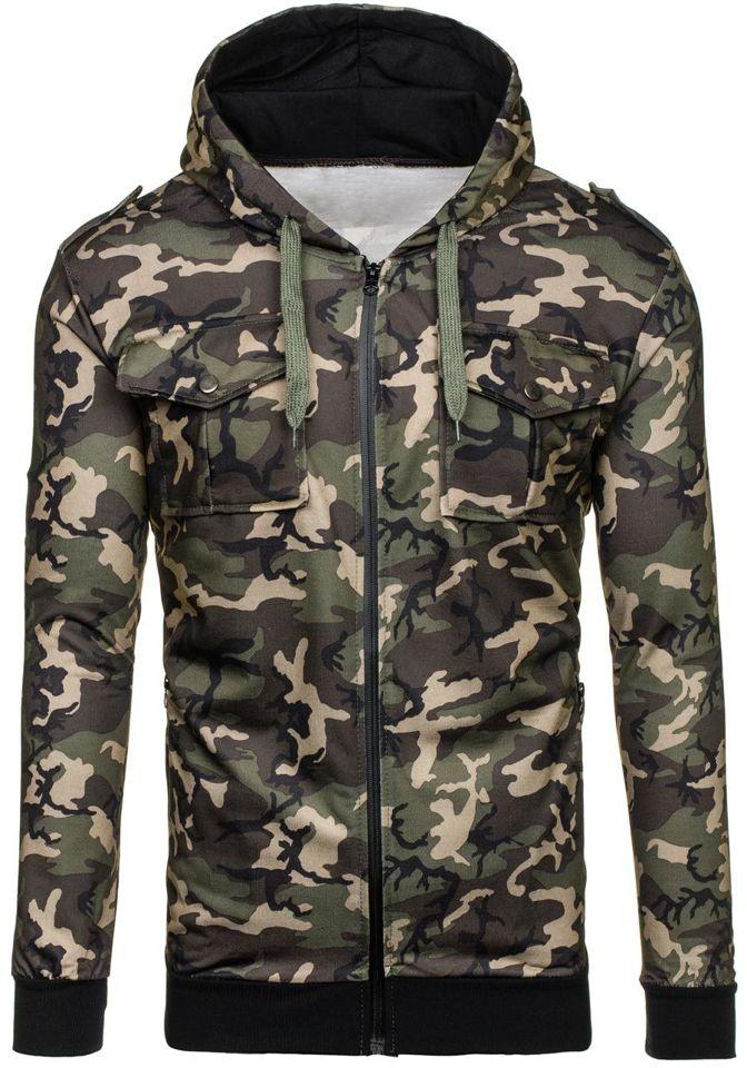 Bluza męska z kapturem moro khaki Denley 2823