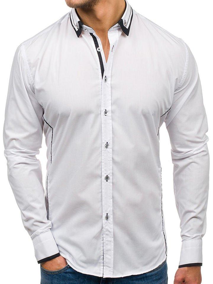 Koszula męska elegancka z długim rękawem biało czarna Bolf 4720  c7qQO