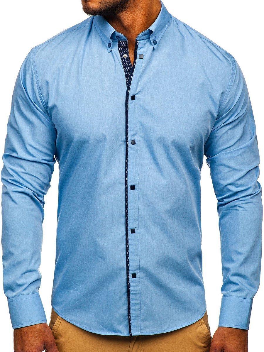 Koszula męska elegancka z długim rękawem błękitna Bolf 7724  qk7un