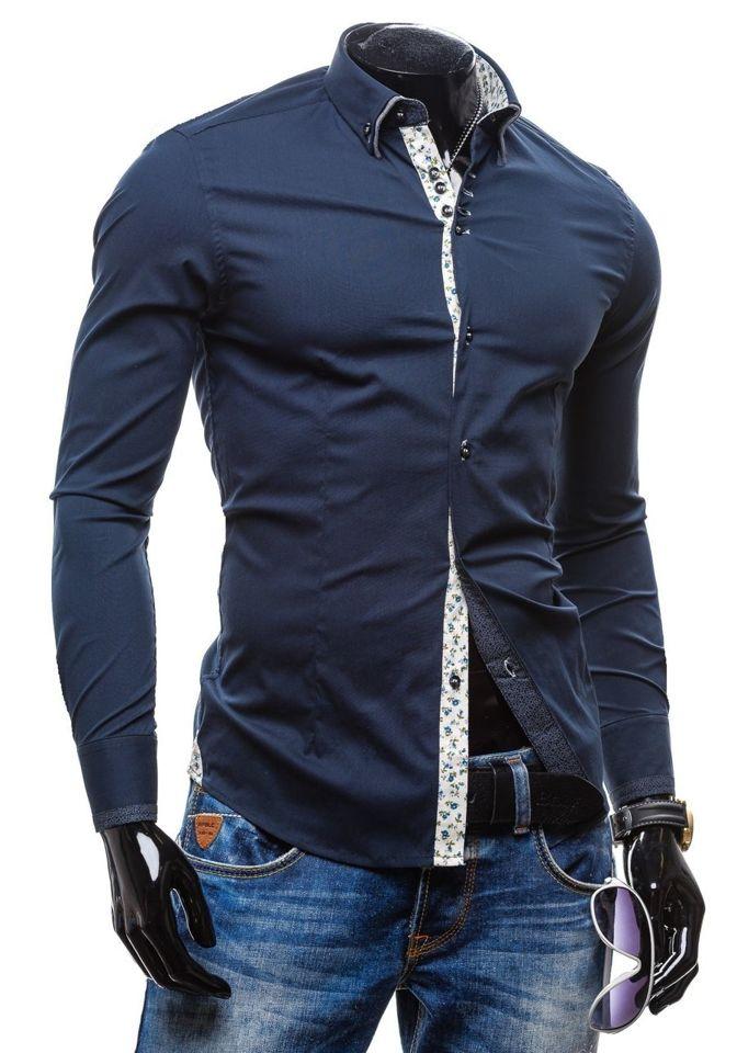 Koszula męska elegancka z długim rękawem granatowa Denley 7180  ZdtXK