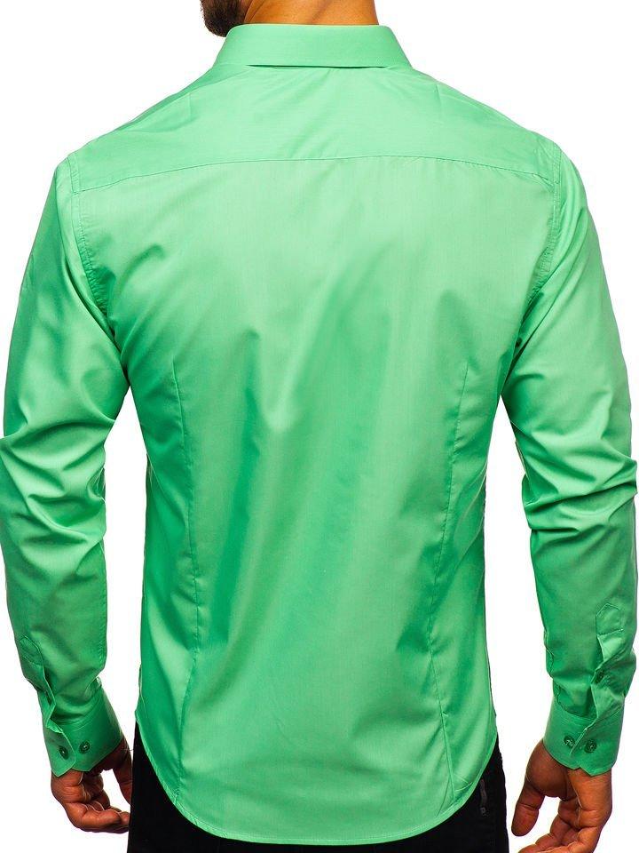 Koszula męska elegancka z długim rękawem miętowa Bolf 1703  qdgQy