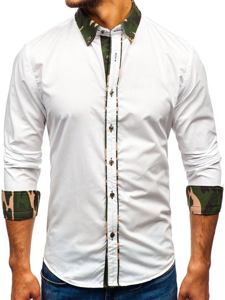 f489aceb581e31 Koszula męska elegancka z długim rękawem moro-biała Bolf 6876