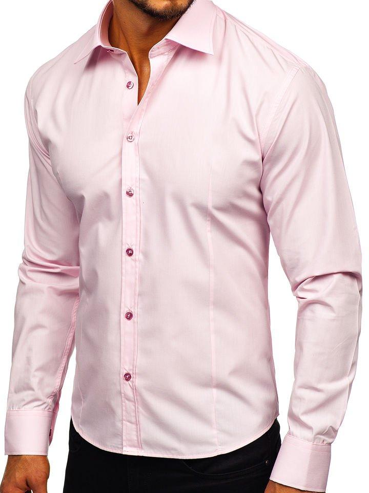 Koszula męska elegancka z długim rękawem różowa Bolf 1703  K9dq4