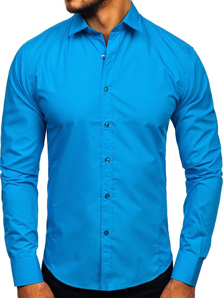 Koszula męska elegancka z długim rękawem turkusowa Bolf 1703  CQH0J