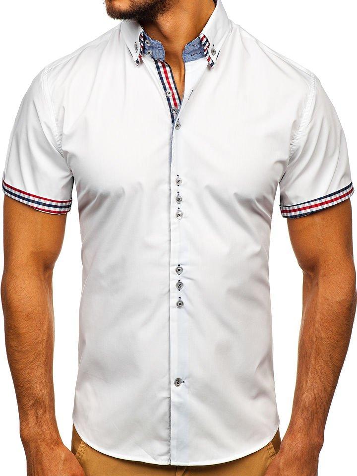Koszula męska elegancka z krótkim rękawem biała Bolf 3507  FwGVh
