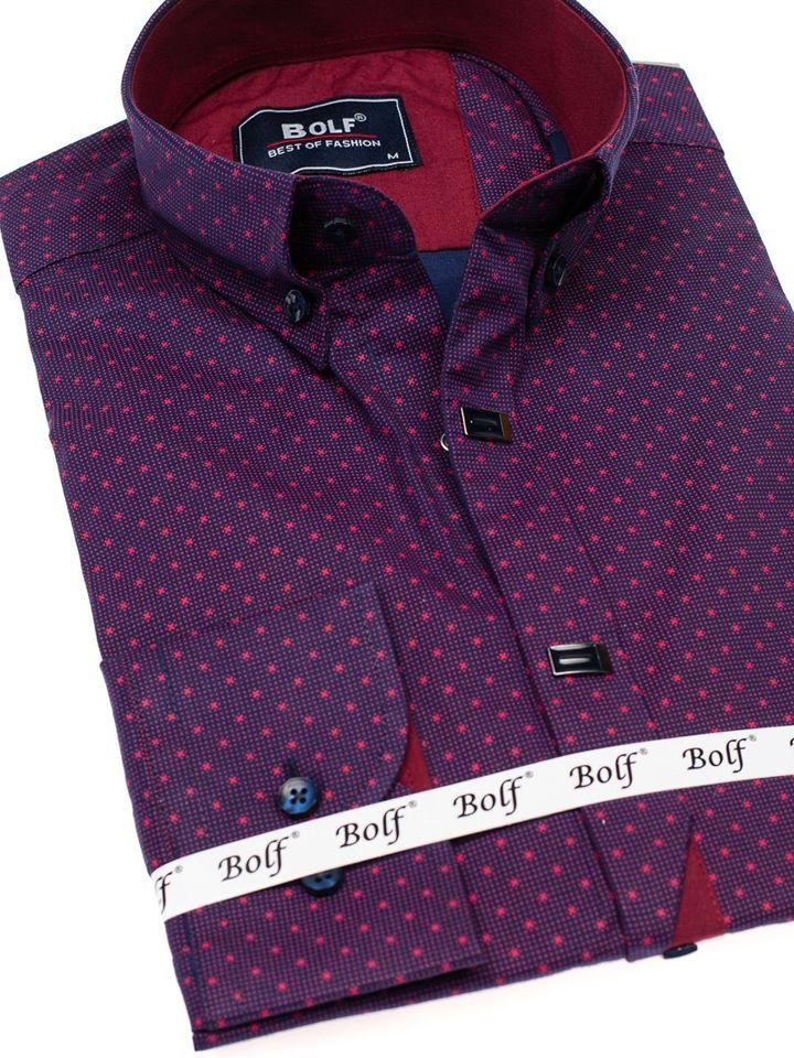Koszula męska we wzory z długim rękawem bordowa Bolf 7716  blH0c