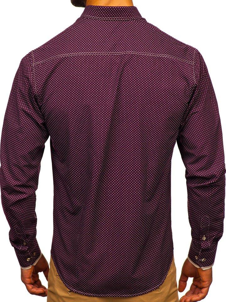 Koszula męska we wzory z długim rękawem bordowa Bolf 9707  TZ5B3