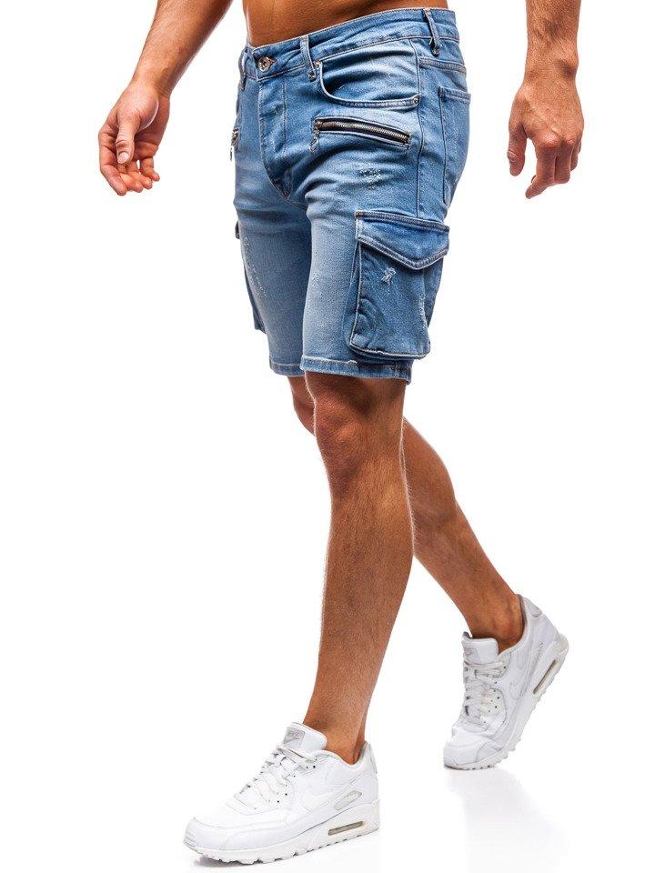 05821a41bac596 Krótkie spodenki jeansowe męskie niebieskie Denley 3001
