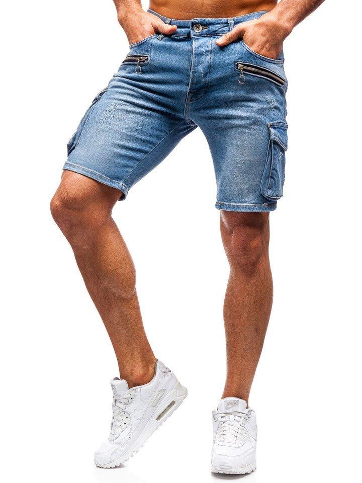 8771d9fb23057 Krótkie spodenki jeansowe męskie niebieskie Denley 3001