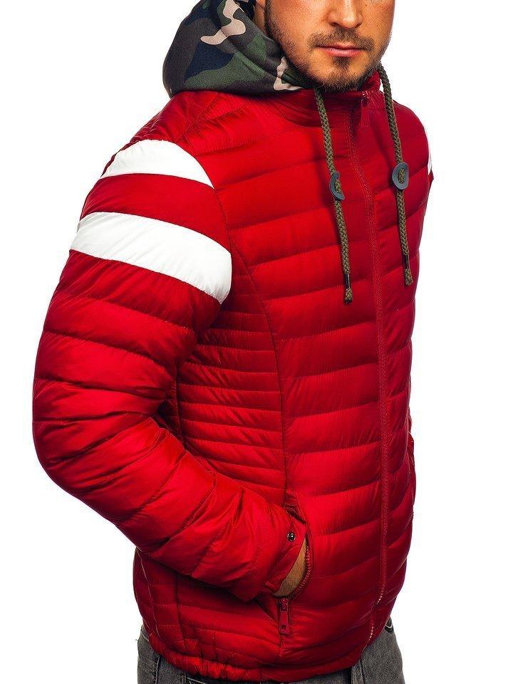 Kurtka męska przejściowa sportowa pikowana czerwona 50A462