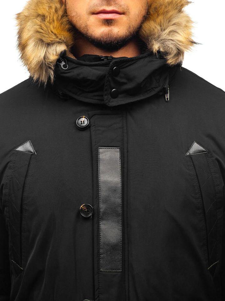kurtka zimowa czarna długa z pomarańczowymi sznurkami