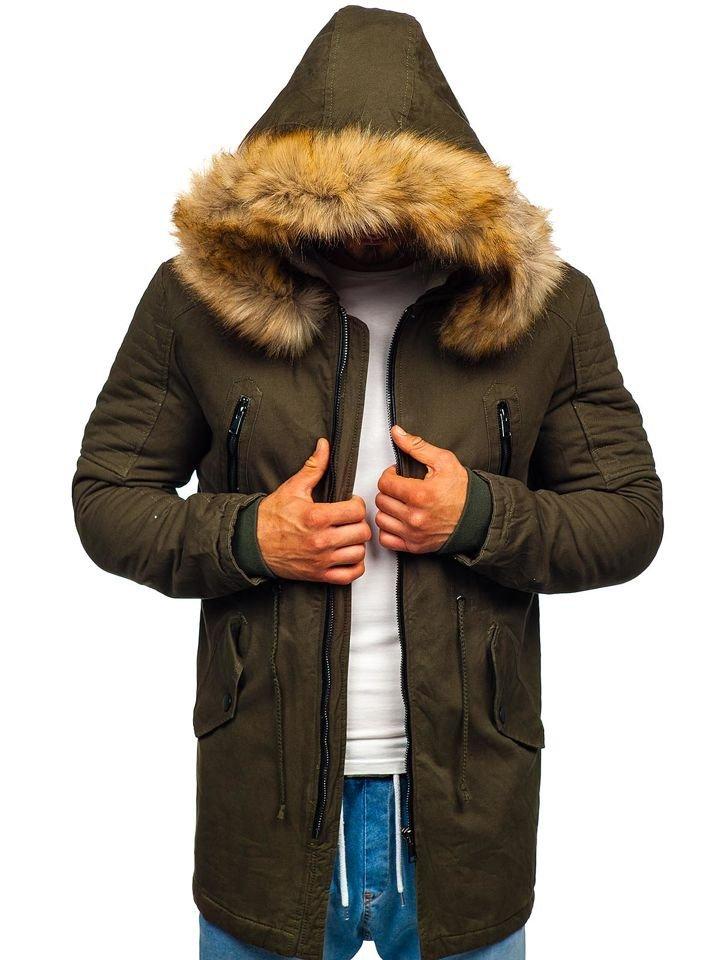 Kurtka męska zimowa parka khaki Denley JK390