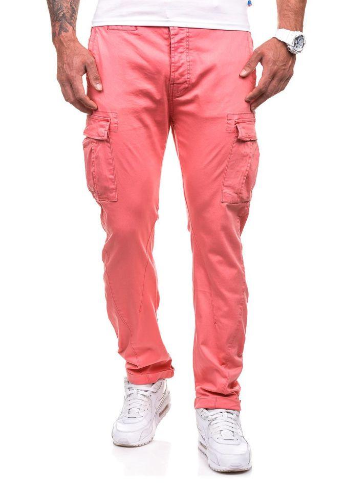0c53eeb6727958 Spodnie bojówki męskie różowe Denley 8380