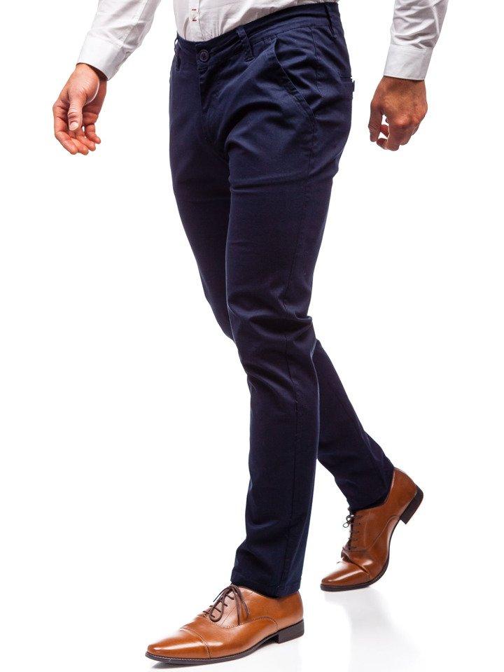 444b707102680 Spodnie chinosy męskie granatowe Denley 2901