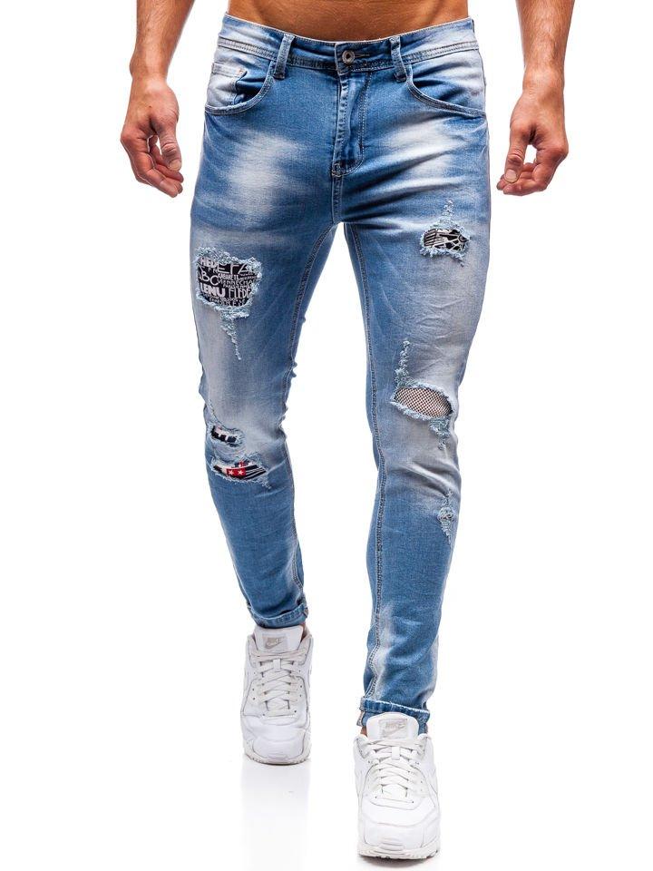 2195753c9388e7 Spodnie jeansowe męskie niebieskie Denley 3940
