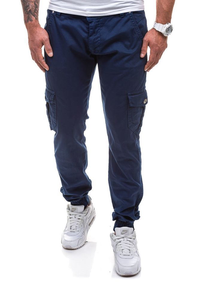 9a06a50943f681 Spodnie joggery bojówki męskie granatowe Denley 0802
