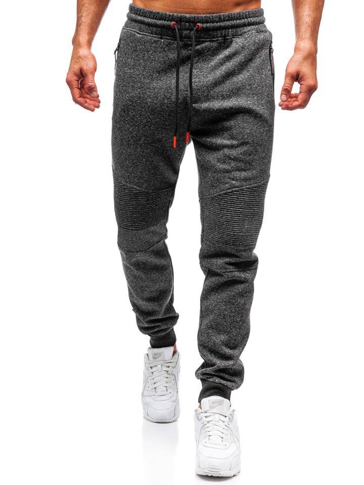 Spodnie męskie dresowe joggery czarno pomarańczowe Denley Q3770