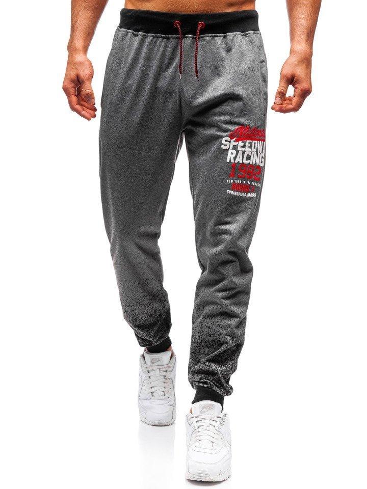 92aeeef1c255f4 Spodnie męskie dresowe joggery grafitowe Denley MK06