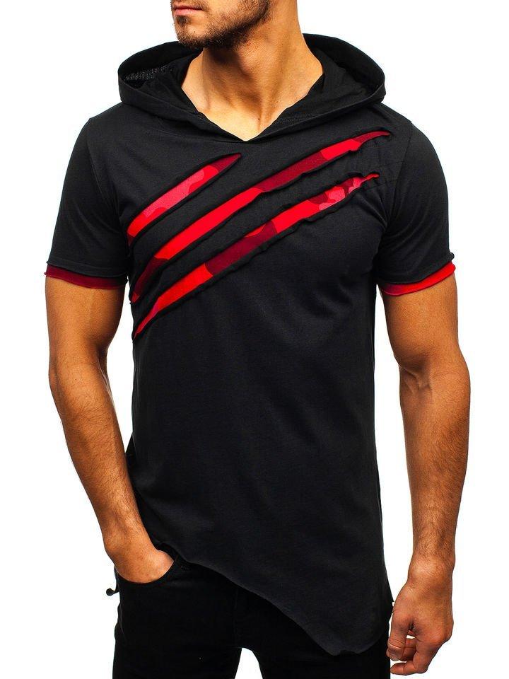 b812b589a8e6b4 T-shirt męski z nadrukiem i kapturem czarny Bolf 1185