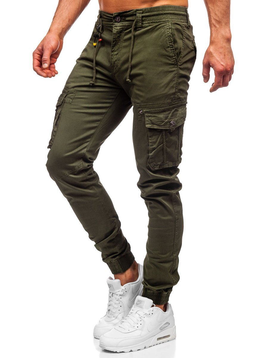 Zielone Spodnie Joggery Bojówki Męskie Denley Ct6703