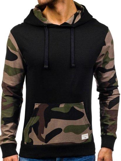 Bluza męska z kapturem czarno-zielona Denley 0840