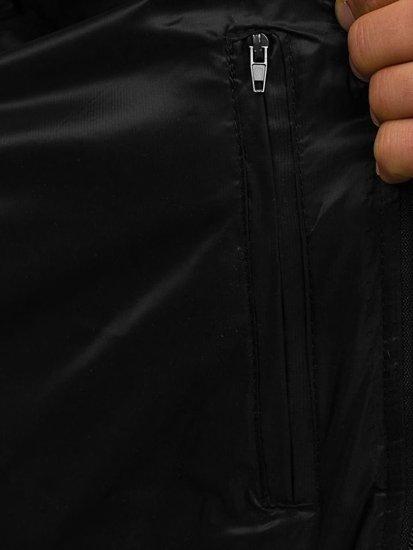 Bezrękawnik męski pikowany z kapturem czarny Denley 1001
