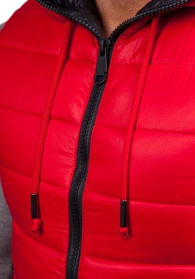 Bezrękawnik męski pikowany z kapturem czerwony Denley 504