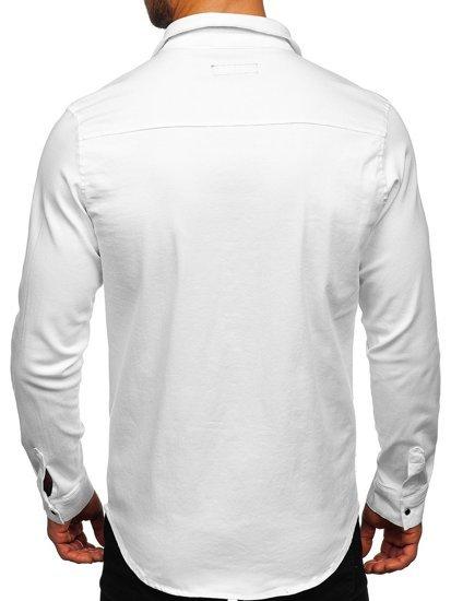 Biała koszula męska jeansowa z długim rękawem Denley R803