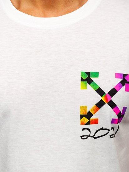 Biały T-shirt męski z nadrukiem Denley KS2513