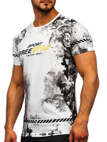 Biały T-shirt męski z nadrukiem Denley SS11003