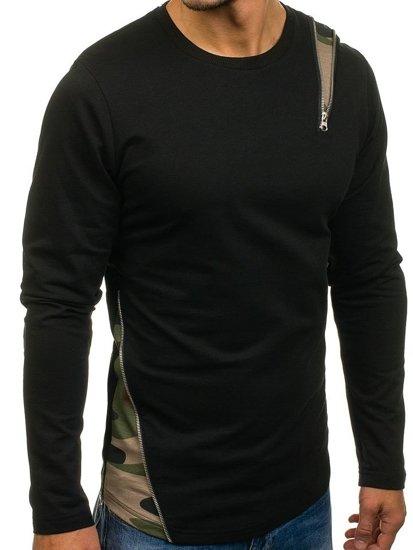Bluza męska bez kaptura czarno-zielona Denley 0754