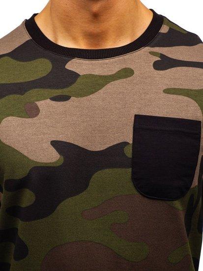 Bluza męska bez kaptura moro-khaki Denley 0741